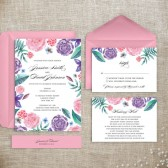 Pink garden wedding invitation