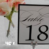 Black and White Flourish Table Numbers - Elnaz and Andrew