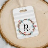 Personalized Luggage Tag - Personalized Bridesmaids Gift - Girls Getaway Luggage Tag - Flower Wreath Luggage Tag - Thank You Bridesmaid Gift