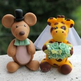 Mouse and giraffe cake topper, custom cake topper, stuffed animal cake topper, Etsy, wedding cake topper, unique cake topper, hand made cake topper, wedding gift