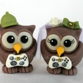 Owl cake topper with game controllers, gamer cake topper, video game wedding,custom cake topper, wedding cake topper, cute cake topper, bride groom figurines, personalized wedding, hand made cake topper, animal cake topper, wedding keepsake