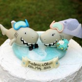 Shark cake topper, wedding cake topper, sea cake topper, beach cake topper, beach wedding, fish cake topper, bride groom figurines, cute cake topper