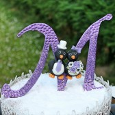 Monogram cake topper, wedding cake topper, letter cake topper, penguin cake topper, glitter wedding