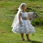 Rustic flower girl dress in off white linen
