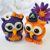 wedding cake topper, owl cake topper, purple wedding, fall cake topper, love birds