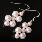 Woven Pink Swarovski Pearls Bridesmaids Earrings