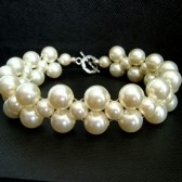 Cream Swarovski and Sterling Silver Bridal Bracelet