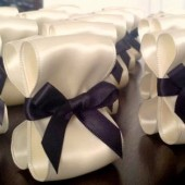 Ribbon Place Card Holders - Ivory & Black
