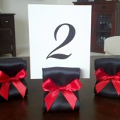 Ribbon Table Number Holders - Black and Red