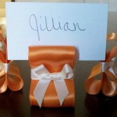 Ribbon Place Card Holders - Tangerine & Ivory