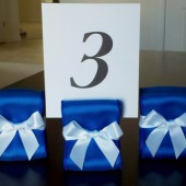 Ribbon Table Number Holders - Royal Blue and White