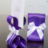Ribbon Place Card Holders - Purple & White