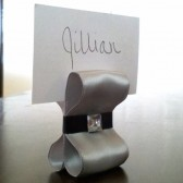 Ribbon Escort Card Holder - Silver & Black with Gem