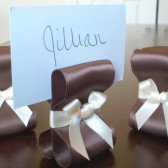 Ribbon Place Card Holders - Chocolate Brown & Ivory