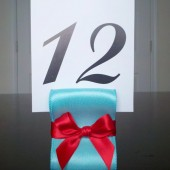 Ribbon Table Number Holders - Aqua & Red