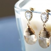 Swarovski Champagne Crystal Earrings