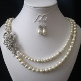 ELISA double strand wedding, bridal jewelry, wedding necklace, bridal necklace, pearl necklace earrings, swarovski pearls rhinestones brooch