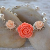 Bright Coral and Peach Rose Bracelet with White Swarovski Pearls.
