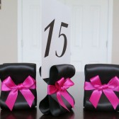 Ribbon Table Number Holders - Black & Fuchsia