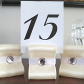 RIbbon Table Number Holders - Ivory with White and Acrylic Crystal