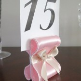 Ribbon Table Number Holders - Light Pink & Champagne