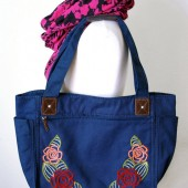 Flower Embroidered Shoulder Tote Bag