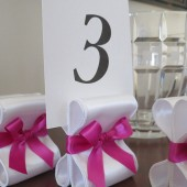 Ribbon Table Number Holders - White & Fuchsia