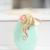 Nautical Seahorse & Sea Shell Charms Necklace with Ocean Mint Enamel Locket
