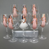 Bridal Party Wine or champagne Glasses Bridesmaids and Bride's Gift - Personalized Caricatures Handpainted to their Likeness