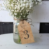table numbers tags . rustic distressed aged
