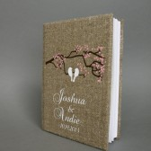 Customized Wedding guest book White birds on the tree branch and cherry blossoms