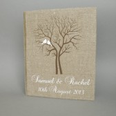 Wedding rustic old style photo album or scrapbook burlap Linen Bridal shower anniversary White birds and names and brown tree
