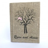 Wedding rustic guest book burlap Linen Wedding guest book Bridal shower engagement anniversary Pink birds on Black tree