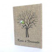 Wedding rustic guest book burlap Linen Wedding guest book Bridal shower engagement anniversary Blue and green birds on Black tree