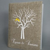 Wedding rustic photo album burlap Linen Bridal shower anniversary Yellow Cardinals on the white Tree