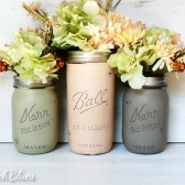 Soft Autumn Painted and Distressed Mason Jars