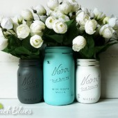 Dolphin Turquoise Wedding Painted Mason Jars