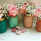 Beachy Chic Wedding Painted Mason Jars