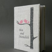 Wedding rustic guest book burlap Linen Wedding guest book Personalized Pink Birds on grey birch tree