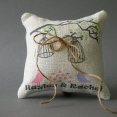 Wedding rustic natural linen Ring Bearer Pillow Light purple and pink birds and birdcage