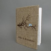 Wedding rustic guest book burlap Linen Wedding guest book Bridal shower engagement anniversary Blue birds on the tree branch