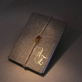Exclusive Genuine Baltic amber on wedding rustic guest book burlap Linen tied in linen