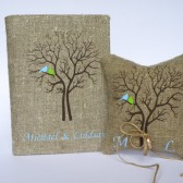 Set of 2 peaces Wedding rustic Burlap guest book and ring pillow Blue and green Birds on Brown tree