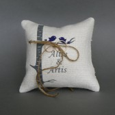 Wedding rustic natural linen Ring Bearer Pillow Purple birds on Grey birch tree and linen rope