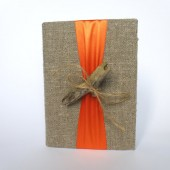 Wedding guest book with Driftwood and colorful ribbon Burlap Linen Book or Bridal shower or engagement scrapbook