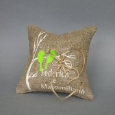 Wedding rustic natural linen Ring Bearer Pillow Green Birds on brunch and linen rope