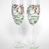 Hand painted Wedding Toasting Flutes Set of 2 Personalized Champagne glasses Wedding theme Fishes