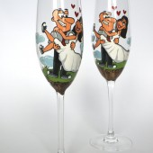 Hand painted Wedding Toasting Flutes Set of 2 Personalized Champagne glasses I DO
