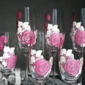 Hand painted Wedding Toasting Flutes Pink peonie, black and white Orchid