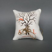 Wedding rustic natural Burlap linen Ring Bearer Pillow Orange Birds on Brown tree and linen rope